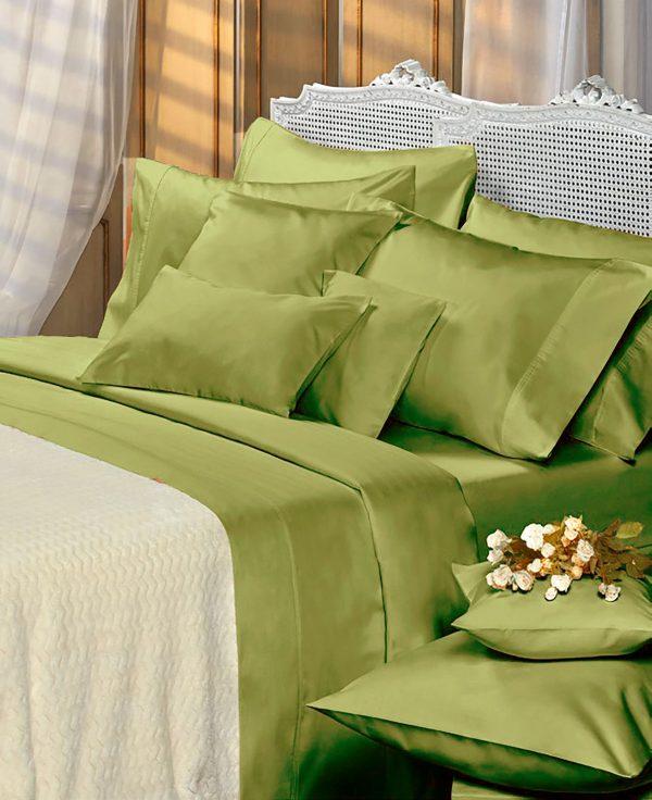 cama con sabanas danubio color verde malva